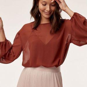 Aritzia Wilfred red blouse bodysuit